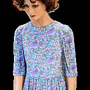 80s Belle France Jane Schaffhausen Blue Purple Floral Dress S/M