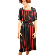 80s Vintage Dress Black and Red Stripe by Leslie Fay S/M