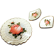 Ivar T Holth Norway Set Roses Brooch and Earrings Guilloche Enamel on Sterling