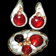Rare 50s Red Glass Enamel Brooch Earrings Demi Set by Beryl Sheldon