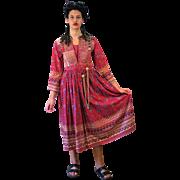 1930s Ethnic Adghan Kuchi Peasant Hippie Dress S
