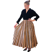 RESERVED For ELIZABETH !! -- 1940s New Look Evening Dress, Black Velvet and Full Striped Taffeta Skirt - Red Tag Sale Item