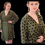 Designer Vicky Tiel Black Gold Jersey Wrap Dress size L