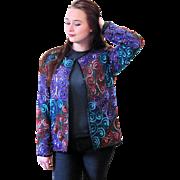 1980s Silk Sequined Spiral Design Jacket size M