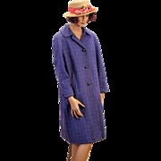 1950s Purple Harris Tweed Coat size Large