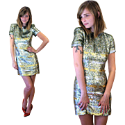 1980s Couture Designer Neil Bieff Green Sequin Dress XS