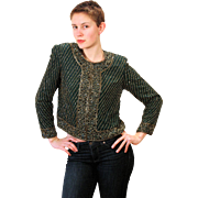 1980s Beaded Dark Green Silk Top M