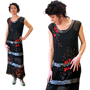 Exquisite Black Silk, Silver Red Beaded, 1920s Flapper Dress