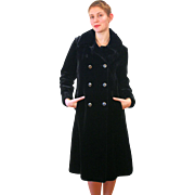 1960s Borgessa Black Faux Fur Plush Coat S/M
