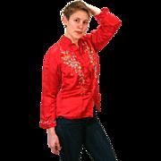 1970s Crimson Embroidered Red Silk Asian Mandarin Blouse M