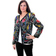 1980s Sequin Flower India Jacket Top M