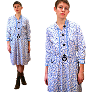 1930s Blue White Homespun Floral Cotton Dress L
