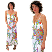 1970s Peacock Bird Floral Print Maxi Dress M