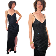 1980s Christian Dior Black Sequin Two Piece Evening Dress