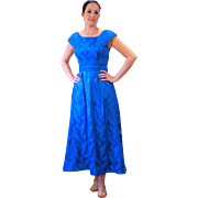 1970s Azure Blue Brocade Emma Domb Party Dress S