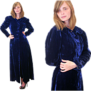 1930s Royal Blue Silk Velvet Coat S/XS