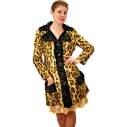 1970s West Germany Mod Faux Leopard Fur Coat S/M