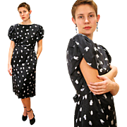 1980s Hanae Mori Butterfly Print Dress M/L