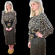 1980s Designer Peggy Jennings Avant Garde Silk Dress XS