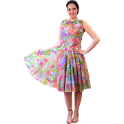 1960s Nathalie of California 2 Piece Spring Floral Party Dress S