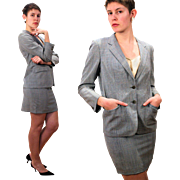 1980s Burberry's Italian Gray Skirt Suit M/L