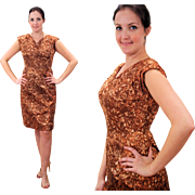 1950s Brown Flocked Velvet Wiggle Dress S