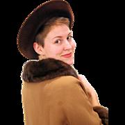 1970s Women's Brown Fur Felt Borsalino Hat size 22