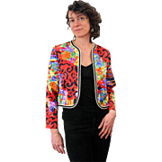 1980s Vivid Floral Satin Bolero Jacket S/M