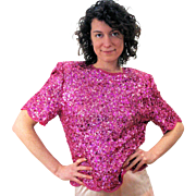 1980s NOS Pink Beaded Sequin Top with Tags size L