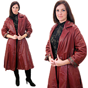 1970s Oxblood Leather Vintage Swing Coat M/L