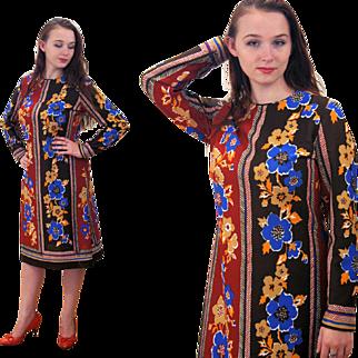 1970s Mod Fall Floral Print Checkaberry Dress M/L
