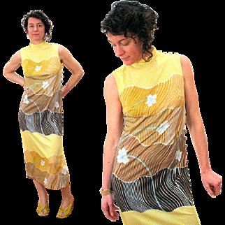 1970s Yellow Flower Print Mod Sleeveless Long Dress S/M