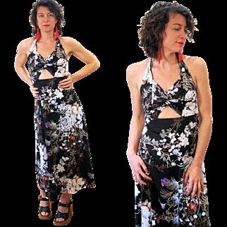 1970s Peekaboo Midriff Butterfly Print Maxi Dress S