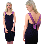 1980s Purple Velvet Cocktail Dress with Bow S