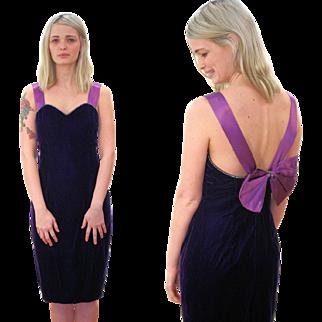 1980s Purple Velvet Cocktail Dress with Bow S