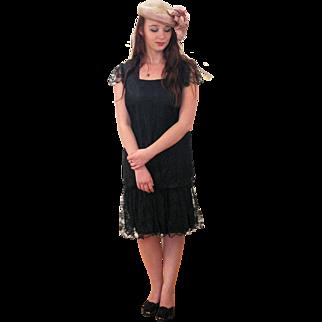 1970s Black Lace Party Dress M