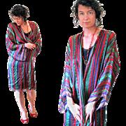 1970s Oscar de la Renta Miss O Silk Striped Robe