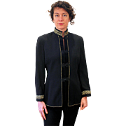 1980s Dramatic Black Gold Military Style Jacket M