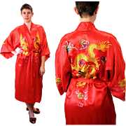 Vintage Golden Bee Crimson Kimono Robe with Dragon