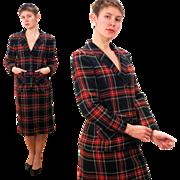 1970s Pendleton Red Black Tartan Plaid Skirt Suit