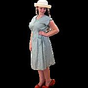 1940s Green White Cotton Printed Day Dress M/L
