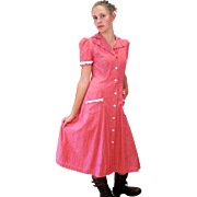 1940s Lady Irene Pink Cotton Day Dress, Waitress Dress, S