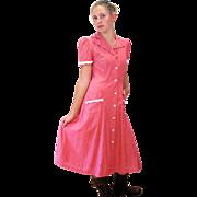 1940s Lady Irene Pink Cotton Day Dress, Waitress Dress, S