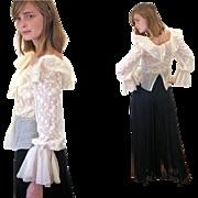 1960s Couture Oscar de la Renta Silk Lace Jumpsuit S