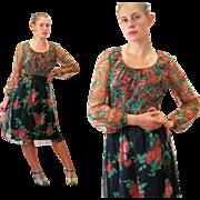 1970s Poppy Print Chiffon Floral Dress S/M