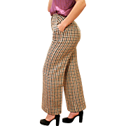 1970s Mod Houndstooth Wool Wide Leg Trousers M