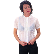 1950s White Sheer Lace Blouse, Rhinestone Buttons M