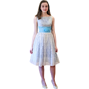 1950s Blue White Lace Party Dress XS