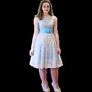 1950s Blue White Lace Party Dress XS