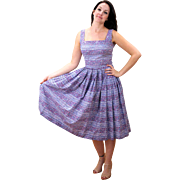 1950s Jerry Gilden Purple Cotton Sundress S/M
